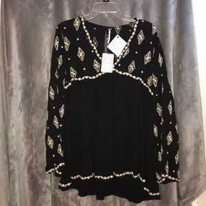NWT Free People Black Diamond Embroidered Tunic XS